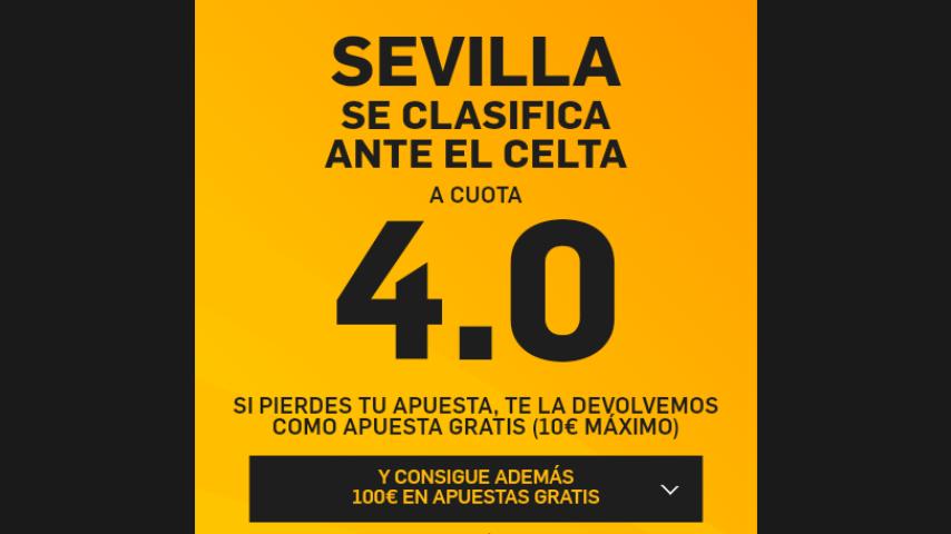 Supercuota 4€ Gana eliminatoria Sevilla ¡ SOLO EN BETFAIR!